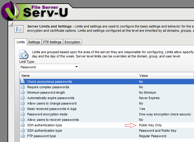 Configure SFTP using Serv-U and FTP Voyager Secure