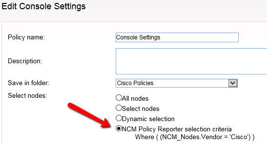 Select nodes to include in a Policy or Compliance Report