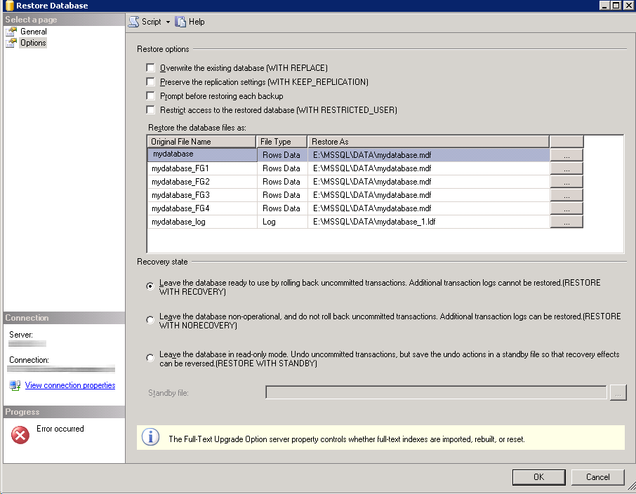 Database restore failed The WITH MOVE clause can be used to relocate