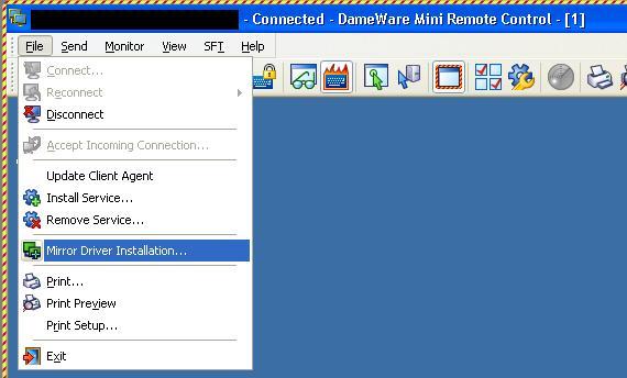 Install and remove the Dameware Mini Remote Control Mirror Driver