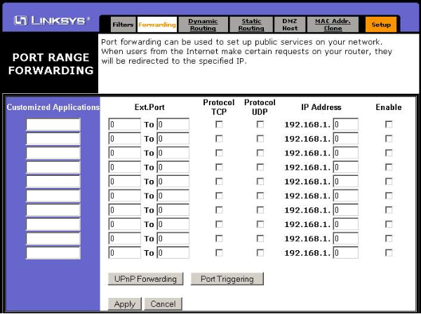 Open ports on a LinkSys Router