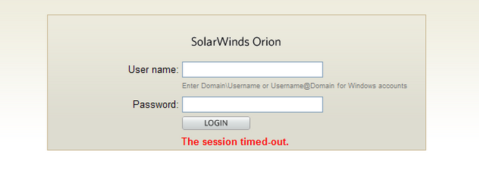 Auto login returns session timeout for the Orion website