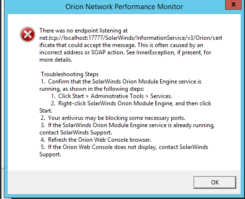 Endpoint listening error when logging in to the Orion Web