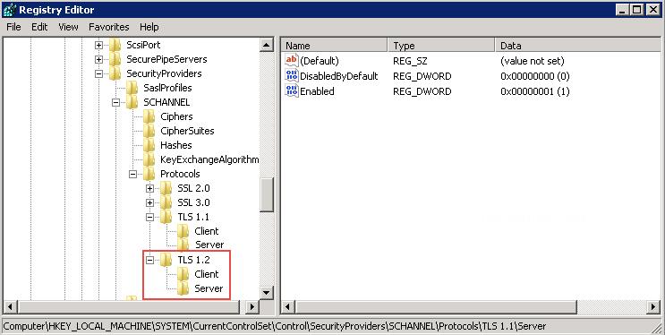 Enable TLS 1 2 on Windows Server 2008