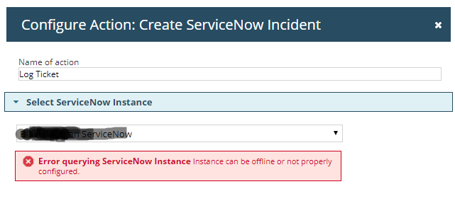 Error Querying ServiceNow instance