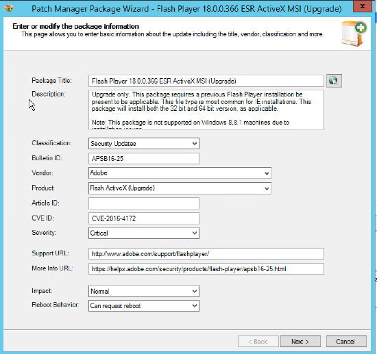Manually import source download from a Patch Manager package