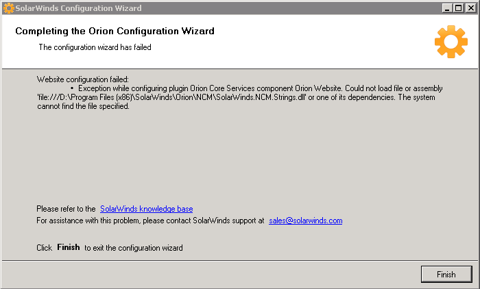 Failure to load file or assembly SolarWinds NCM String dll or one of