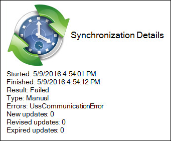Error displays after synchronizing the WSUS server
