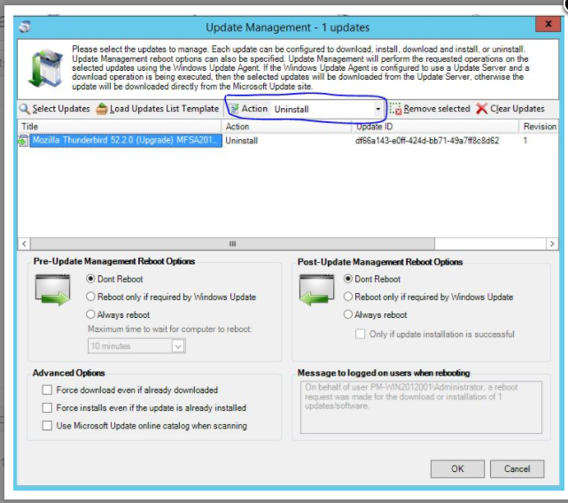 Uninstall a package using Package Wizard Update Management