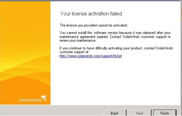 License Activation Failed - released after your maintenance