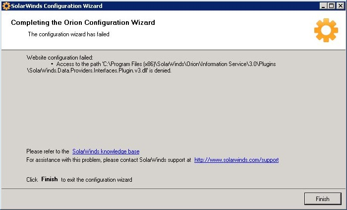 Website Configuration failed: Access to the path is denied