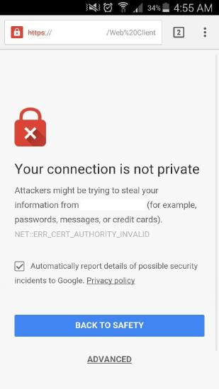 Android error when browsing the FTP site: NET