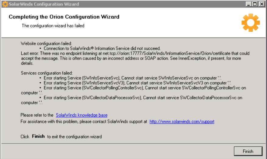 Error starting Service messages when running Configuration