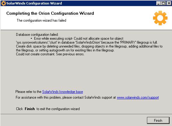 Database Configuration Failed - Could not allocate space for object
