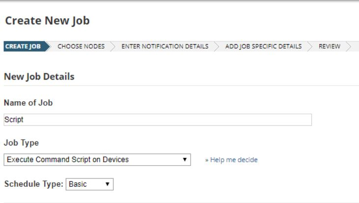 Create an NCM job to execute a command script on devices
