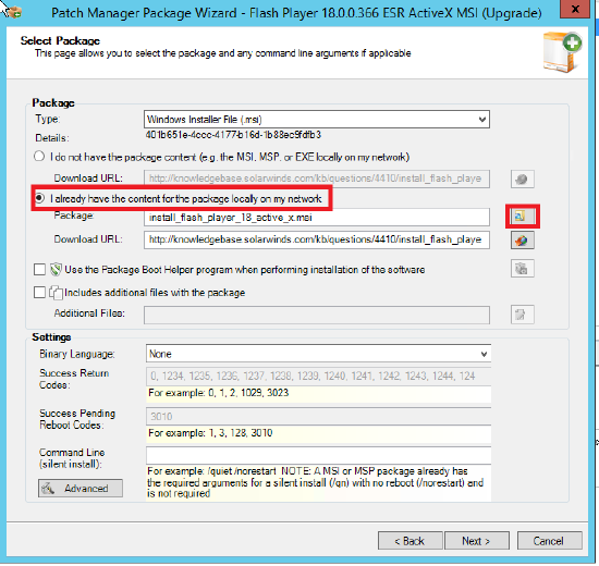 Unable to import files using Patch Manager Package Assistant