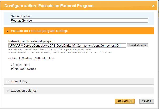 Monitor, alert and restart a Windows service from SAM