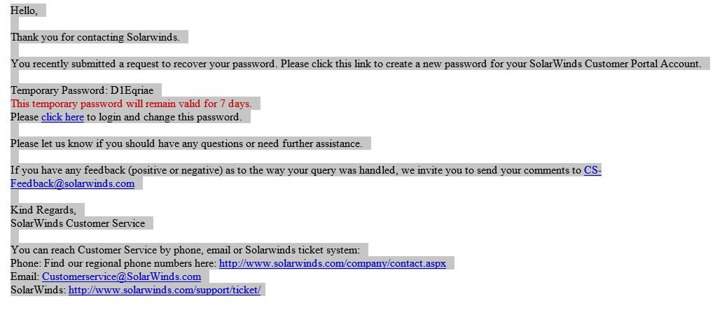 Reset the login password on the Customer Portal
